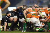 Henry Thomas of Bath Rugby prepares to scrummage against his opposite number. European Rugby Champions Cup match, between Benetton Rugby and Bath Rugby on January 20, 2018 at the Municipal Stadium of Monigo in Treviso, Italy. Photo by: Patrick Khachfe / Onside Images