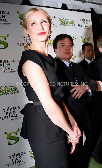 WWW.ACEPIXS.COM . . . . .  ....April 21 2010, New York City....Actors Cameron Diaz and Mike Myers arriving at the premiere of 'Shrek Forever After' as part of the Tribeca Film Festival at the Ziegfeld Theatre on April 21 2010 in New York City....Please byline: NANCY RIVERA- ACEPIXS.COM.... *** ***..Ace Pictures, Inc:  ..Tel: 646 769 0430..e-mail: info@acepixs.com..web: http://www.acepixs.com