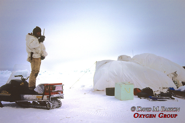 Geoff Carroll Radioing Base Camp
