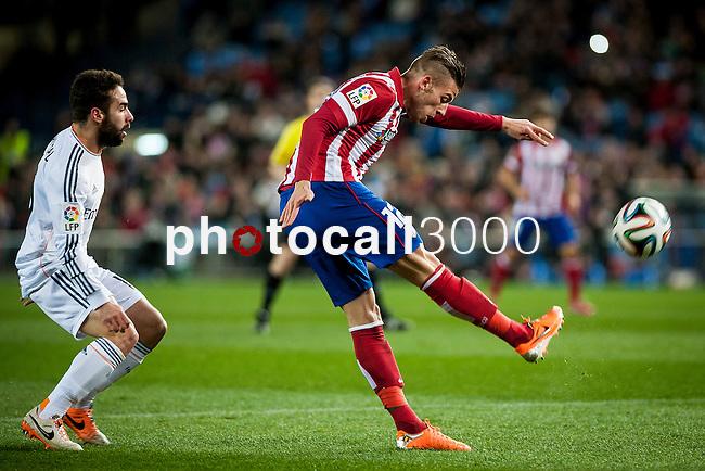 Vicente Calderon. Madrid. Spain. 11.02.2014. Football match between Atletico de Madrid and Real Madrid. Carvajal, Adwerfield