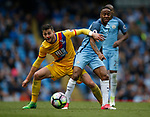 Joel Ward of Crystal Palace in action with Raheem Sterling of Manchester City during the English Premier League match at the Etihad Stadium, Manchester. Picture date: May 6th 2017. Pic credit should read: Simon Bellis/Sportimage