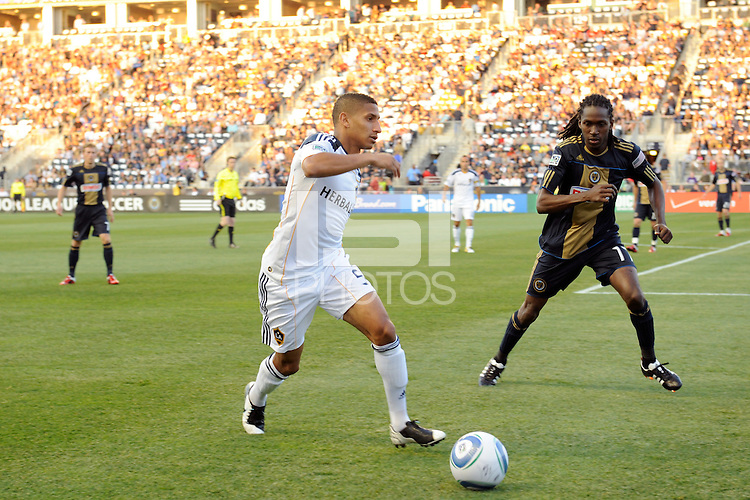 Sean Franklin (5) of the Los Angeles Galaxy plays the ball. The Philadelphia Union  and the Los Angeles Galaxy played to a 1-1 tie during a Major League Soccer (MLS) match at PPL Park in Chester, PA, on May 11, 2011.