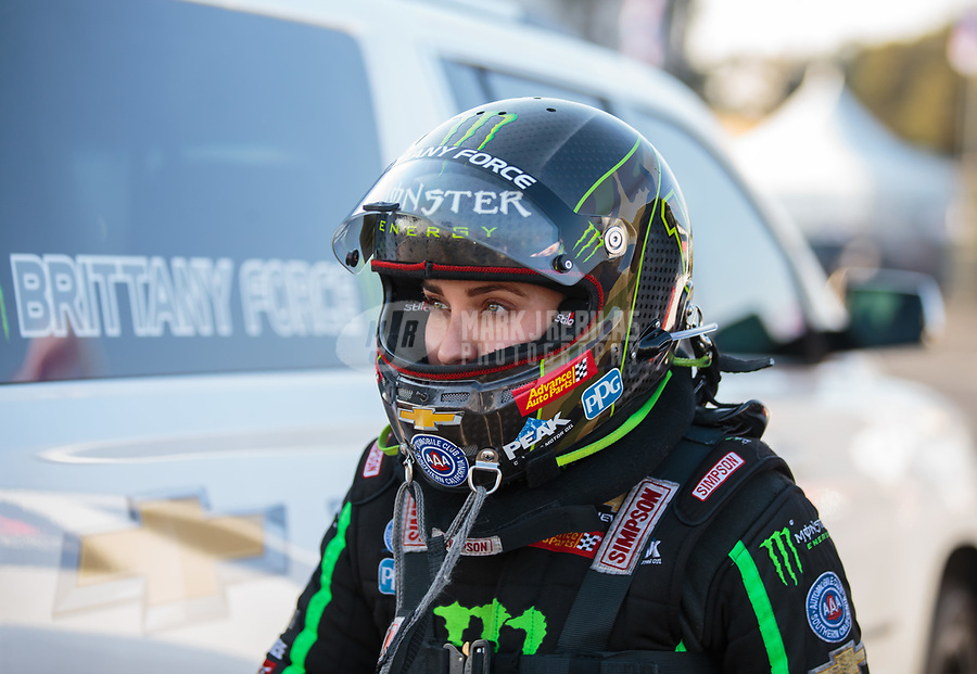 Nov 11, 2018; Pomona, CA, USA; NHRA top fuel driver Brittany Force during the Auto Club Finals at Auto Club Raceway. Mandatory Credit: Mark J. Rebilas-USA TODAY Sports