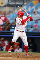 Reading Phillies outfielder Tug Hulett #5 at bat during a game against the New Hampshire Fisher Cats at FirstEnergy Stadium on April 10, 2012 in Reading, Pennsylvania.  New Hampshire defeated Reading 3-2.  (Mike Janes/Four Seam Images)