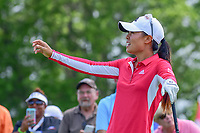 Danielle Kang (USA) asks her caddie for another ball following her tee shot on 10 during Wednesday's preview of the 72nd U.S. Women's Open Championship, at Trump National Golf Club, Bedminster, New Jersey. 7/12/2017.<br /> Picture: Golffile | Ken Murray<br /> <br /> <br /> All photo usage must carry mandatory copyright credit (&copy; Golffile | Ken Murray)