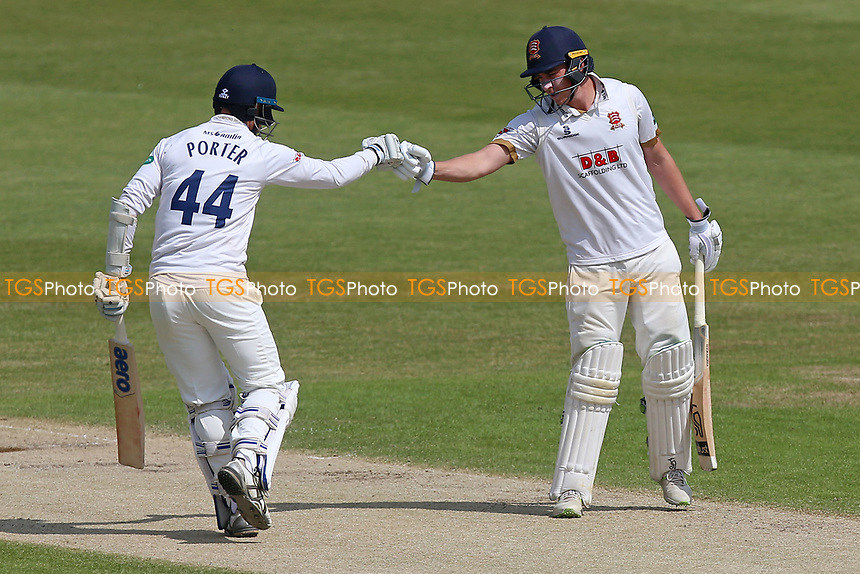 Jamie Porter (L) and Daniel Lawrence of Essex during Worcestershire CCC vs Essex CCC, Specsavers County Championship Division 1 Cricket at New Road on 13th May 2018