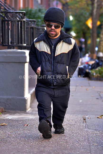 WWW.ACEPIXS.COM<br /> <br /> <br /> November 6, 2013, New York City, NY.<br /> <br /> <br /> Peter Dinklage out and about on November 6, 2013 in New York City, NY.<br /> <br /> <br /> <br /> <br /> By Line: Curtis Means/ACE Pictures<br /> <br /> ACE Pictures, Inc<br /> Tel: 646 769 0430<br /> Email: info@acepixs.com