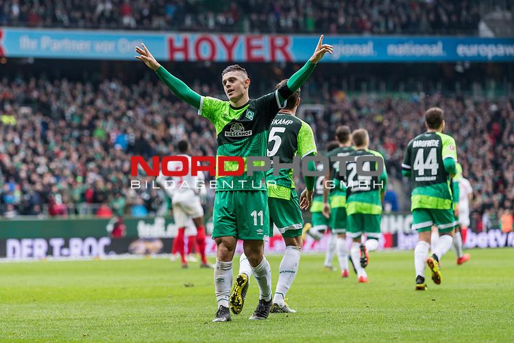 10.02.2019, Weserstadion, Bremen, GER, 1.FBL, Werder Bremen vs FC Augsburg<br /> <br /> DFL REGULATIONS PROHIBIT ANY USE OF PHOTOGRAPHS AS IMAGE SEQUENCES AND/OR QUASI-VIDEO.<br /> <br /> im Bild / picture shows<br /> Milot Rashica (Werder Bremen #11) bejubelt seinen Treffer zum 3:0 Richtung Fans, <br /> <br /> Foto © nordphoto / Ewert