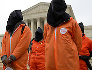 January 11, 2012  (Washington, DC)  Protestors stand in front of the U.S. Supreme Court in Washington to demand the closing of the Guantanamo prison on the tenth anniversary of its opening.  Hundreds marched from the White House to the U.S. Supreme Court where they held a rally.   (Photo by Don Baxter/Media Images International)