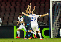 Yevhen Seleznyov celebrates after scoring during Europa League Semi Final first    leg soccer match, between SSC Napoli and  Dinipro   at  the San Paolo   stadium in Naples  Italy , May 07, 2015