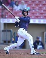 Cedar Rapids Kernels right fielder Trey Cabbage (25) swings at a pitch against the Burlington Bees at Veterans Memorial Stadium on April 13, 2019 in Cedar Rapids, Iowa.  Kernels won 2-1.  (Dennis Hubbard/Four Seam Images)