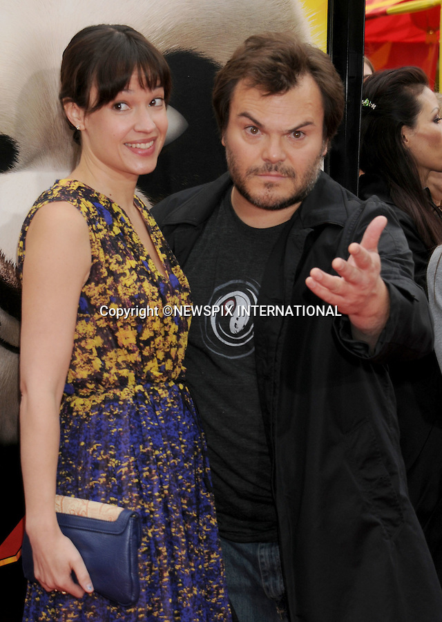 """JACK BLACK AND WIFE TANYA HAYDEN.attend the Los Angeles Premiere of """"Kung Fu Panda 2"""" at the Grauman's Chinese Theatre, Hollywood, California_22/05/2011.Mandatory Photo Credit: ©Crosby/Newspix International..**ALL FEES PAYABLE TO: """"NEWSPIX INTERNATIONAL""""**..PHOTO CREDIT MANDATORY!!: NEWSPIX INTERNATIONAL(Failure to credit will incur a surcharge of 100% of reproduction fees)..IMMEDIATE CONFIRMATION OF USAGE REQUIRED:.Newspix International, 31 Chinnery Hill, Bishop's Stortford, ENGLAND CM23 3PS.Tel:+441279 324672  ; Fax: +441279656877.Mobile:  0777568 1153.e-mail: info@newspixinternational.co.uk"""
