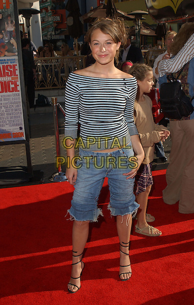 ALEXA VEGA.The New Line Cinema's World Premiere of Raise Your Voice held at The Loews Universal City 18 Theatres in Universal City, California .October 3, 2004.full length, stripes, stripes shirt, off the shoudler, jeans, denim, cropped, ripped, torn, cut off, sandals, lace up, shoes.www.capitalpictures.com.sales@captialpictures.com.Copyright 2004 by Debbie VanStory