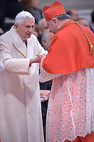 Cardinal Francesco Montenegro, archbishop of Agrigento, Italy,Pope Benedict XVI during a consistory for the creation of new Cardinals at St. Peter's Basilica in Vatican.February 14, 2015