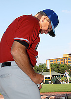 Norfolk Tides Coach Richie Hebner signs autographs before a game vs. the Rochester Red Wings at Frontier Field in Rochester, New York;  May 31, 2010.  Norfolk defeated Rochester by the score of 2-1.  Photo By Mike Janes/Four Seam Images