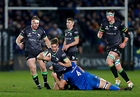 4th January 2020; RDS Arena, Dublin, Leinster, Ireland; Guinness Pro 14 Rugby, Leinster versus Connacht; Kyle Godwin of Connacht is tackled by Caelan Doris and Ross Molony of Leinster - Editorial Use