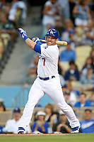 Nick Punto #7 of the Los Angeles Dodgers bats against the Colorado Rockies at Dodger Stadium on September 29, 2012 in Los Angeles, California. Los Angeles defeated Colorado 3-0. (Larry Goren/Four Seam Images)