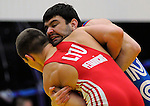 January 26, 2013: Lithuania's, Justin Petravicius and USA's, Dmitry Ryabchinsky, during Greco-Roman wrestling action during the Jack Pinto Cup at the United States Olympic Training Center, Colorado Springs, Colorado.  This unique dual format international competition has been named in memory of Jack Pinto, a young USA Wrestling member and one of the shooting victims at Sandy Hook Elementary School, Newtown, CT.