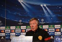 FUSSBALL  CHAMPIONS LEAGUE  ACHTELFINALE  HINSPIEL  2012/2013      CF Real Madrid - Manchester United FC         12.02.2013 Pressekonferenz Trainer Sir Alex Ferguson (Manchester United FC)