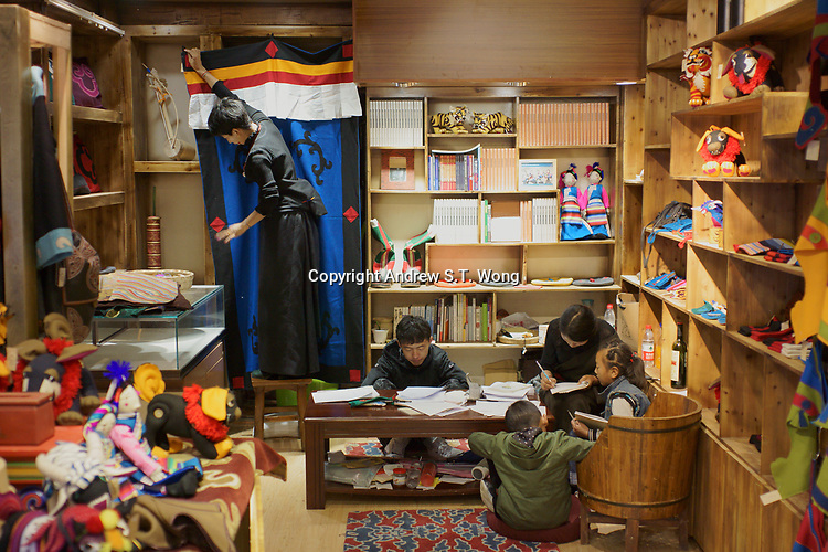 Diqing Tibetan Autonomous Prefecture, Yunnan Province, China - Tibetan youths take Tibetan language class, August 2018.