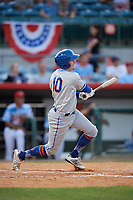 St. Lucie Mets right fielder Ian Strom (10) follows through on a swing during a game against the Florida Fire Frogs on April 19, 2018 at Osceola County Stadium in Kissimmee, Florida.  St. Lucie defeated Florida 3-2.  (Mike Janes/Four Seam Images)