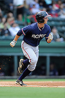 Second baseman Ross Wilson (16) of the Rome Braves in a game against the Greenville Drive on Friday, August 1, 2014, at Fluor Field at the West End in Greenville, South Carolina. Rome won, 5-1. (Tom Priddy/Four Seam Images)