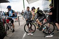 Esteban Chaves (COL/Mitchelton-Scott) warming up pre-stage<br /> <br /> Stage 15: Tineo to Santuario del Acebo (154km)<br /> La Vuelta 2019<br /> <br /> ©kramon
