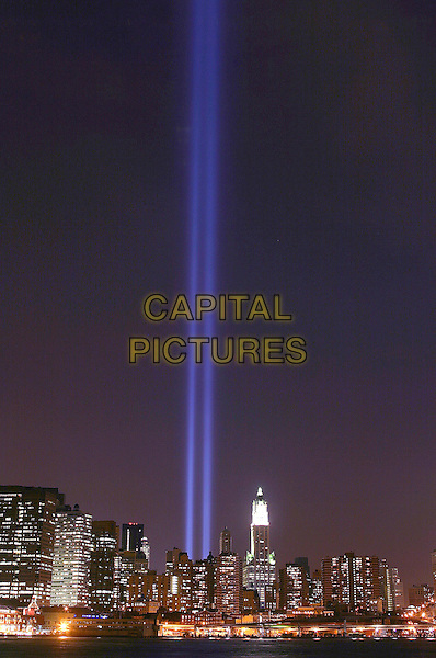GROUND ZERO.September 11 'Tribute in Lights'.New York City, New York USA.September 11, 2004.flag, america, twin towers, 911.www.capitalpictures.com.sales@capitapictures.com.©Capital Pictures