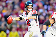 Landover, MD - November 4, 2018: Atlanta Falcons quarterback Matt Ryan (2) throws the football under from the pocket during game between the Atlanta Falcons and the Washington Redskins at FedEx Field in Landover, MD. The Falcons defeated the Redskins 38-13. (Photo by Phillip Peters/Media Images International)
