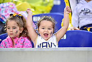 Annapolis, MD - September 8, 2018: A young Navy Midshipmen fan cheers during game between Memphis and Navy at  Navy-Marine Corps Memorial Stadium in Annapolis, MD. (Photo by Phillip Peters/Media Images International)