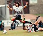 St Johnstone v Rangers 20.9.97:  Marco Negri is sent flying by Alan Main for a penalty