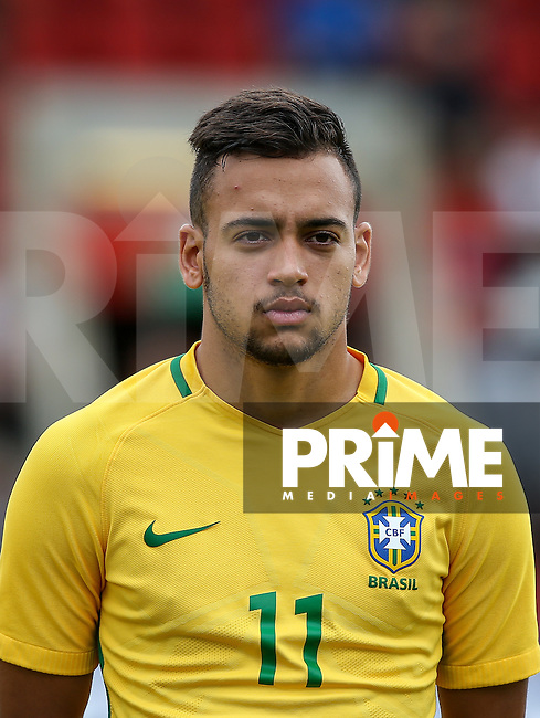 Maycon of Brazil during the International match between England U20 and Brazil U20 at the Aggborough Stadium, Kidderminster, England on 4 September 2016. Photo by Andy Rowland / PRiME Media Images.
