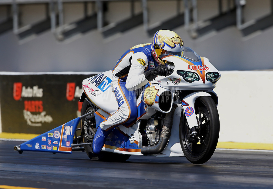 Mar. 15, 2013; Gainesville, FL, USA; NHRA pro stock motorcycle rider Adam Arana during qualifying for the Gatornationals at Auto-Plus Raceway at Gainesville. Mandatory Credit: Mark J. Rebilas-