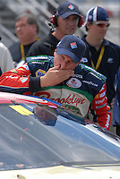 Apr 28, 2007; Talladega, AL, USA; Nascar Nextel Cup Series driver David Reutimann (00) reacts after qualifying for the Aarons 499 at Talladega Superspeedway. Mandatory Credit: Mark J. Rebilas