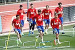 Spain's Diego Costa, Kepa Arrizabalaga, Nacho Monreal, Javi Martinez, Padro Rodriguez, Gerard Pique and Thiago Alcantara during training session. March 21,2017.(ALTERPHOTOS/Acero)