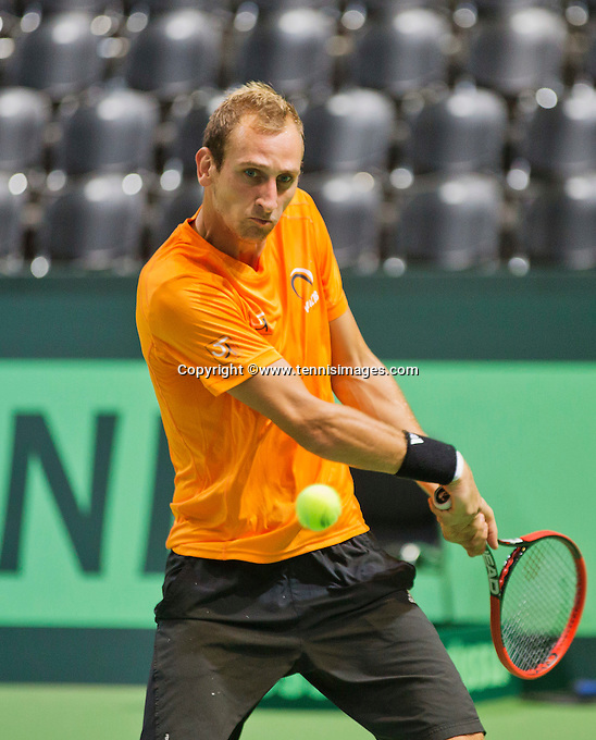 Swiss, Genève, September 14, 2015, Tennis,   Davis Cup, Swiss-Netherlands, practise Dutch team, Thiemo de Bakker <br /> Photo: Tennisimages/Henk Koster