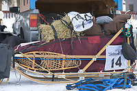 Michelle Phillips dog sled packed for the start of the 1000 mile Yukon Quest sled dog race between Fairbanks, Alaska and Whitehorse, Yukon. Dubbed the toughest dogsled race in the world.
