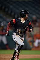 Richmond Flying Squirrels Bryce Johnson (34) runs to first base during an Eastern League game against the Bowie Baysox on August 15, 2019 at Prince George's Stadium in Bowie, Maryland.  Bowie defeated Richmond 4-3.  (Mike Janes/Four Seam Images)