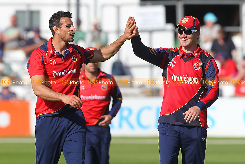 Sajid Mahmood of Essex (L) celebrates the wicket of Calum MacLeod with Tim Phillips - Essex Eagles vs Scotland - Yorkshire Bank YB40 Cricket at the Essex County Ground, Chelmsford - 02/06/13 - MANDATORY CREDIT: Gavin Ellis/TGSPHOTO - Self billing applies where appropriate - 0845 094 6026 - contact@tgsphoto.co.uk - NO UNPAID USE