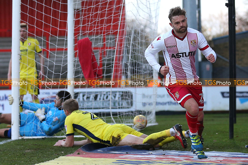 Matthew Godden of Stevenage scores the first goal for his team and celebrates during Stevenage vs Cheltenham Town, Sky Bet EFL League 2 Football at the Lamex Stadium on 1st January 2018