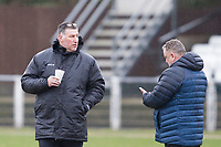 Hornchurch manager Jim McFarlane enjoys a pre match hot drink before AFC Hornchurch vs Haringey Borough, Bostik League Division 1 North Football at Hornchurch Stadium on 10th February 2018