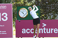 Nelly Korda (USA) tees off the 13th tee during Friday's Round 2 of The Evian Championship 2018, held at the Evian Resort Golf Club, Evian-les-Bains, France. 14th September 2018.<br /> Picture: Eoin Clarke | Golffile<br /> <br /> <br /> All photos usage must carry mandatory copyright credit (&copy; Golffile | Eoin Clarke)
