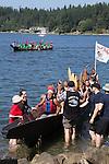 Canoe Journey, Paddle to Nisqually, 2016, Nisqually Canoes, Governor Jay Inslee, Nisqually Tribe,, Olympia, Washington, 7-30-2016, Salish Sea, Puget Sound, Washington State, USA,