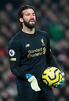 Liverpool's Alisson Becker gestures<br /> <br /> Photographer Alex Dodd/CameraSport<br /> <br /> The Premier League - Liverpool v Manchester United - Sunday 19th January 2020 - Anfield - Liverpool<br /> <br /> World Copyright © 2020 CameraSport. All rights reserved. 43 Linden Ave. Countesthorpe. Leicester. England. LE8 5PG - Tel: +44 (0) 116 277 4147 - admin@camerasport.com - www.camerasport.com