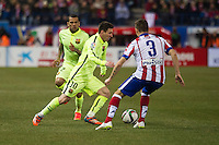 Atletico de Madrid´s Guilherme Siqueira and Barcelona´s Lionel Messi and Daniel Alves during 2014-15 Spanish King Cup match between Atletico de Madrid and Barcelona at Vicente Calderon stadium in Madrid, Spain. January 28, 2015. (ALTERPHOTOS/Luis Fernandez) /nortephoto.com<br />