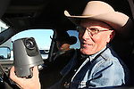 Activists LaVoy Finicum holds a surveillance camera, placed by the FBI was found near the Malheur National Wildlife Reserve on January 15, 2016 in Burns, Oregon. Two more cameras were removed from a nearby power station.©2016. Jim Bryant Photo. All Rights Reserved.