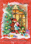Interlitho, Emilia, CHRISTMAS CHILDREN, paintings, 3 children, door, tree(KL5417,#XK#)