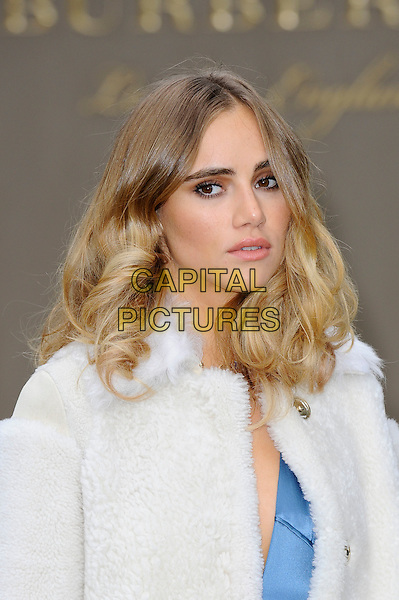 LONDON, ENGLAND - SEPTEMBER 21:  Suki Waterhouse attending the Burberry Prorsum Spring/Summer 2016 show during London Fashion Week at Kensington Gardens, on September 21, 2015 in London, England.<br /> CAP/MAR<br /> &copy; Martin Harris/Capital Pictures
