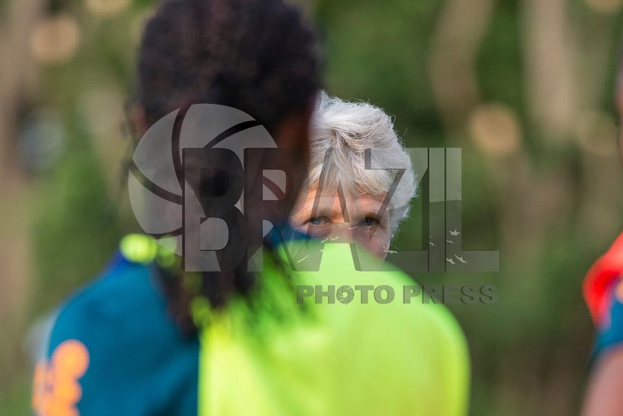 SÃO PAULO,  SP, 26.08.2019 - FUTEBOL-SELEÇÃO - Pia Sundhage, treinadora da seleção brasileira de futebol feminino durante sessão de treinamento no Centro de Treinamento do São Paulo na Barra Funda região oeste da cidade nesta segunda-feira, 26. (Foto: Anderson Lira/Brazil Photo Press/Folhapress)