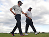 Kyle Stanley, left, and Pat Perez walk from the 17th green to the 18th tee during the first round of the U.S. Open Championship at Shinnecock Hills Golf Club in Southampton on Thursday, June 14, 2018.